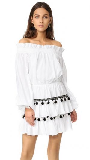 Платье Lou с помпонами Caroline Constas. Цвет: белый мульти