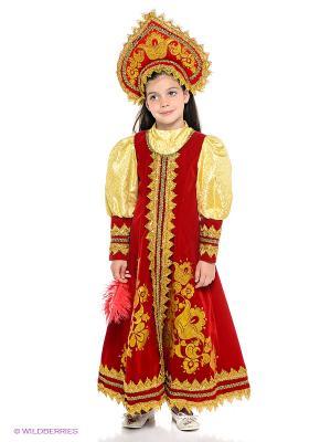 Карнавальный костюм Сударушка Батик. Цвет: красный, золотистый