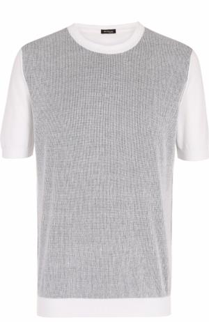 Хлопковый джемпер тонкой вязки с короткими рукавами Kiton. Цвет: белый