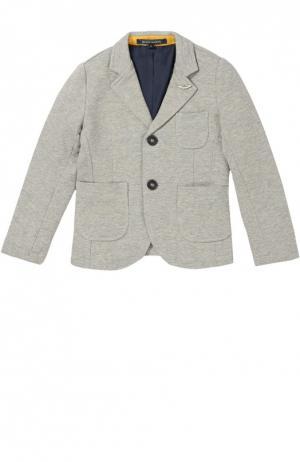 Хлопковый однобортный пиджак Aston Martin. Цвет: серый