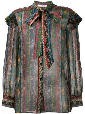Прозрачная блузка с цветочным принтом Philosophy Di Lorenzo Serafini. Цвет: многоцветный
