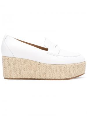 Platform penny loafers Gabriela Hearst. Цвет: белый