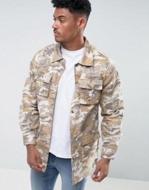 Liquor & Poker Джинсовая куртка песочного цвета с камуфляжным принтом и рваной отделк. Цвет: бежевый