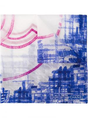 Платок с принтом-логотипом Chanel Vintage. Цвет: синий