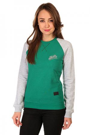 Толстовка свитшот женская  Script Logo 3v Crewneck Green/Grey Melange Skills. Цвет: зеленый,серый