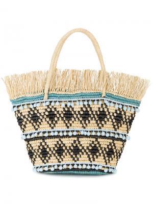 Плетеная сумка с бахромой Sensi Studio. Цвет: телесный