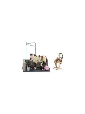 Игрушечный набор для мойки лошадей SCHLEICH. Цвет: белый, серый