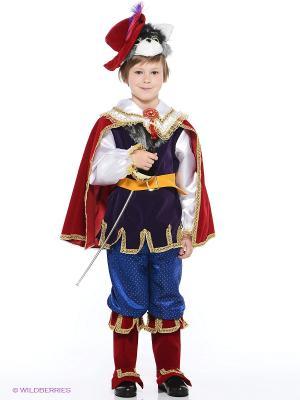Карнавальный костюм Кот в сапогах Батик. Цвет: красный, лиловый, синий