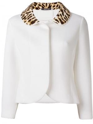 Пиджак с леопардовым воротником Maison Margiela. Цвет: белый