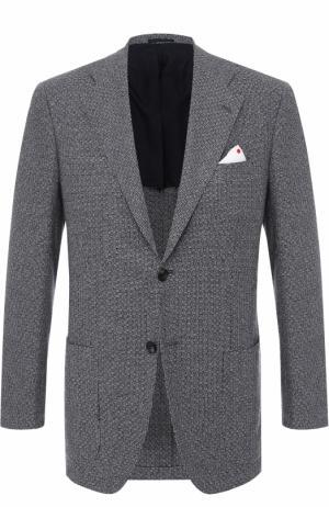 Кашемировый однобортный пиджак Kiton. Цвет: серый