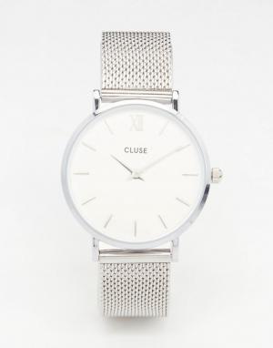 Cluse Серебристые часы с сетчатым браслетом Minuit CL30009. Цвет: серебряный