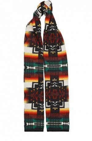 Вязаный шарф с принтом No. 21. Цвет: разноцветный