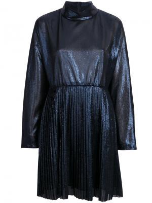 Платье с плиссировкой и эффектом металлик Federica Tosi. Цвет: синий