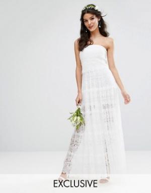 Body Frock Многоярусное платье макси Bodyfrock Bridal. Цвет: белый