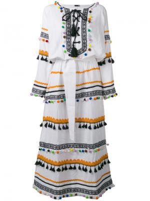 Платье макси с кисточками и помпонами Dodo Bar Or. Цвет: белый