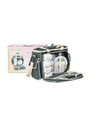 Набор для пикника в коробке на 4 персоны GreenGlade. Цвет: темно-зеленый