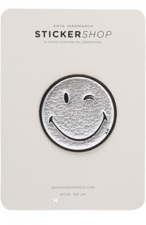 Кожаный стикер Wink Smiley Anya Hindmarch. Цвет: серебряный