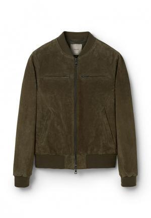 Куртка кожаная Mango Man. Цвет: хаки