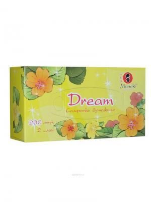 Салфетки бумажные Dream 2 слоя, 200 шт./коробка Maneki. Цвет: желтый