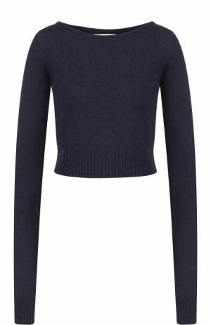 Укороченный шерстяной пуловер с круглым вырезом Faith Connexion. Цвет: синий