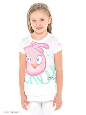 Платье ANGRY BIRDS. Цвет: белый, розовый