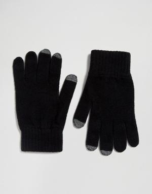 Glen Lossie Мягкие перчатки из овечьей шерсти. Цвет: черный