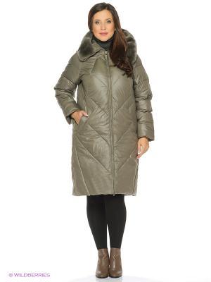 Пальто стеганное FREYA. Цвет: темно-зеленый