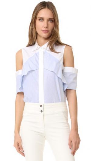 Блуза с открытыми плечами и оборками J. Mendel. Цвет: синий/цвет слоновой кости
