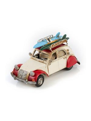 Модель Ретро Автомобиль белый с красным,с фоторамкой и копилкой  4х7см PLATINUM quality. Цвет: белый, красный