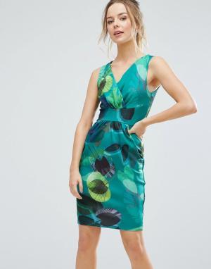 Closet London Платье-тюльпан с принтом. Цвет: зеленый