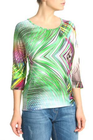 Блузка Elisa Fanti. Цвет: кремовый, зеленый