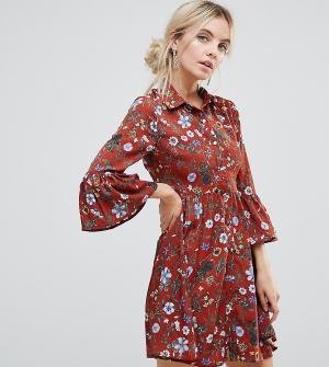 Uttam Boutique Petite Короткое приталенное платье с цветочным вырезом и пуговицами Bou. Цвет: красный