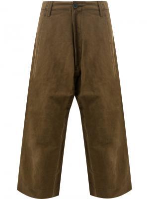 Укороченные широкие брюки Ziggy Chen. Цвет: коричневый