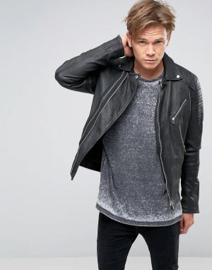 Goosecraft Черная байкерская куртка из кожи. Цвет: черный