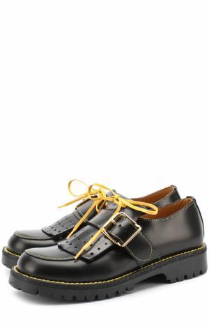 Кожаные ботинки с бахромой и ремешком Gallucci. Цвет: черный
