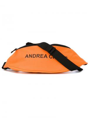 Logo print bum bag Andrea Crews. Цвет: жёлтый и оранжевый