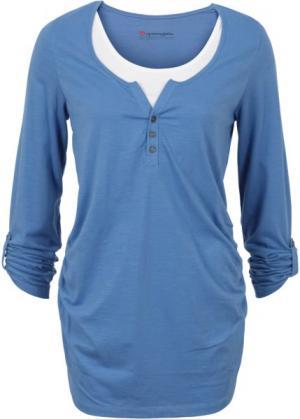 Мода для беременных: футболка с длинными рукавами и функцией кормления (кристально-синий) bonprix. Цвет: кристально-синий