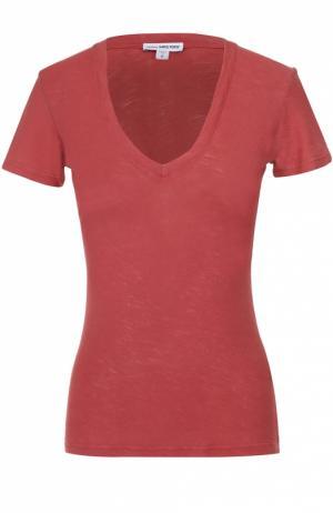 Приталенная футболка с V-образным вырезом James Perse. Цвет: красный