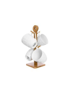 Набор кружек Цветочки Elan Gallery. Цвет: белый, коричневый
