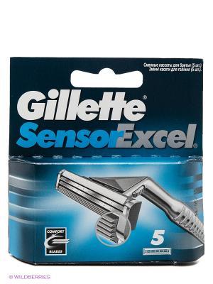 Cменные кассеты для бритья SENSOR Excel, 5 шт. GILLETTE. Цвет: голубой