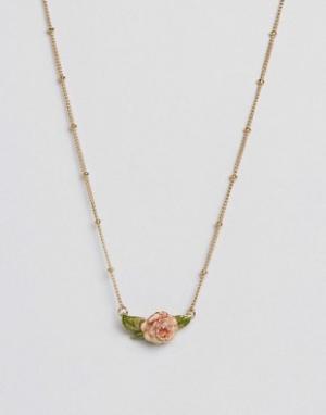 Bill Skinner Ожерелье в винтажном стиле с розой. Цвет: золотой