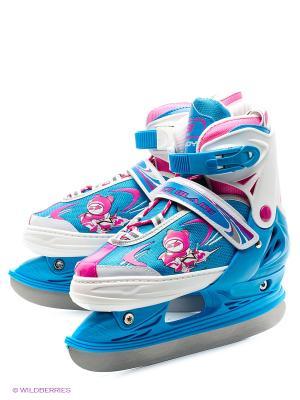 Коньки раздвижные ICE BLADE Candy. Цвет: голубой, розовый, белый