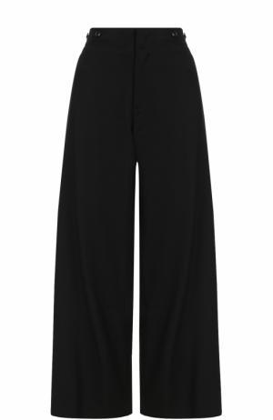Шерстяные расклешенные брюки с карманами Yohji Yamamoto. Цвет: черный