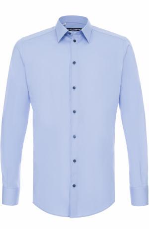 Хлопковая сорочка с воротником кент Dolce & Gabbana. Цвет: голубой