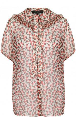 Шелковая блуза с принтом и воротником аскот Rochas. Цвет: красный