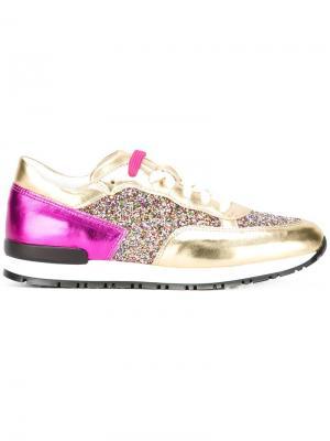 Кроссовки с блестящими панелями Pollini. Цвет: металлический