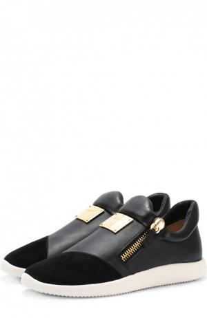 Кожаные кеды Runner с замшевым мысом Giuseppe Zanotti Design. Цвет: черный