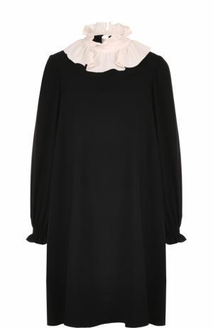 Платье свободного кроя с контрастным воротником Tara Jarmon. Цвет: черный
