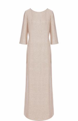 Платье-макси с укороченным рукавом и пайетками St. John. Цвет: золотой