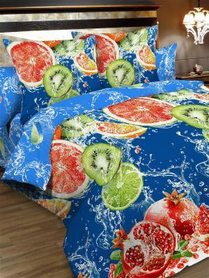 Комплект постельного белья, семейный, пододеяльник на молнии Letto. Цвет: синий, красный